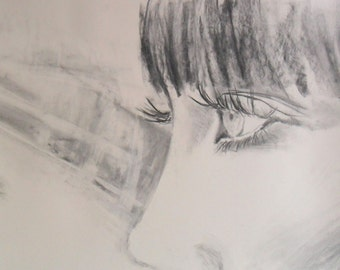 large face drawing charcoal poster large sensual woman's face 20x27,5 A handmade Alina Louka