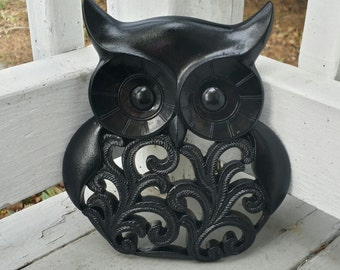 Owl Wall Decor Painted Black with NO distressing // Owl Wall Decor // Black Owl // Owl Home Decor // Owl Housewarming Gift //