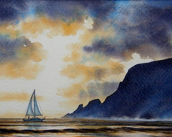 Safe Anchorage, Marloes sands. Original Watercolour in Sale. Fivety Pounds Off. Yachts, Boats, Seascapes, Wildlife, Flower Originals, Prints