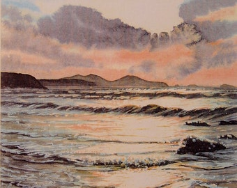 Whitesands, Sunset over Ramsey Island. A signed, Limited print. Seascapes, Beaches, Pembrokeshire, Wildlife, Birds, Flower Originals, prints