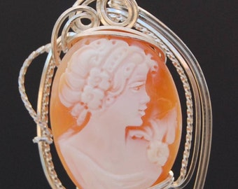 Wire Wrapped Pendant - Cameo in Scluptured Argentium Sterling Silver Wire Pendant