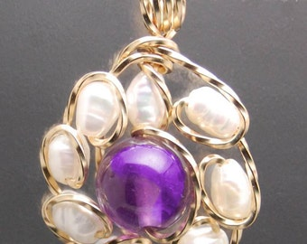 Wire Wrapped Pendant - Amethyst Bead surrounded by Freshwater Pearls in 14 Kt. Gold-Fillled Wire Pendant