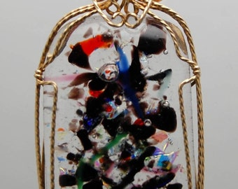 Wire Wrapped Pendant - Dichroic Fused Glass in 14 Kt. Gold-Filled Wire Pendant