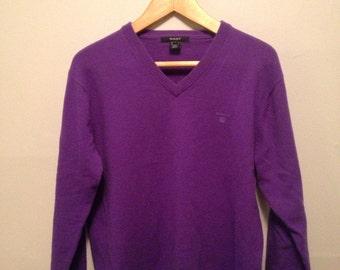 Vtg Gant Purple Lambswool V-Neck Sweater Jumper Size Medium 38-40