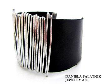 Wrap Leather Bracelet, Black Leather Bangle, Statement Bracelet, Silver bracelet, Women Leather Bracelet, Stylish Bracelet, Charm Bracelet.