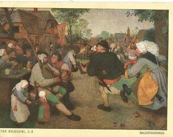 Pieter Bruegel  - Bauernkirmes, Dutch Art Card, Unused Vintage Color Postcard, Circa 1930