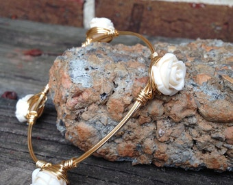 The Cream Flower Bangle  wire wrapped on gold wire, bourbon and bowites inspired style