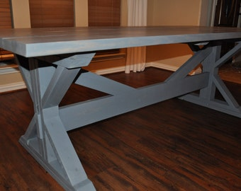 Hand Crafted Trestle Style Farmhouse Dining Table