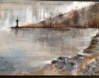 """Hand painting in acrylic on canvas on board with frame """"Landscape"""""""