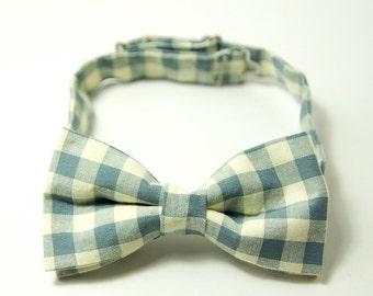 Blue Gingham Men's Bow Tie