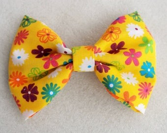 Flower Yellow Hair Bow Clip