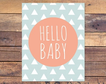 Hello Baby - Nursery Print - Hello - Baby - Printable - Nursery Wall Decor - Instant Download - 8x10