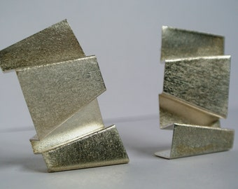 "Large Sculptural Sterling Silver ""Vernacular"" Earrings by CJC Jewellery"