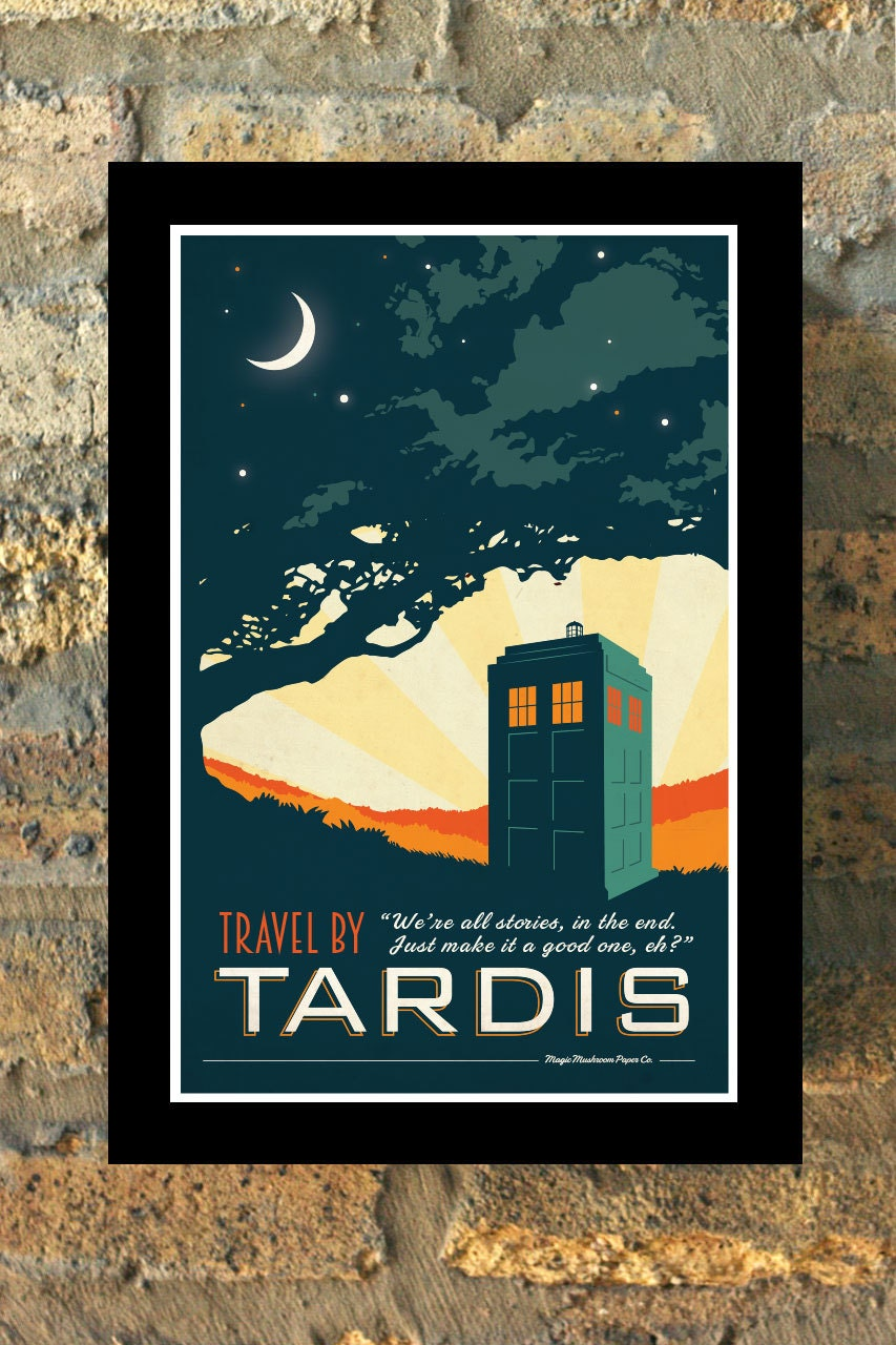Tardis doctor who travel poster vintage print geekery wall art for Art sites like etsy
