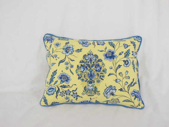 French Yellow And Blue Floral Damask Pillow By PillowBouquet