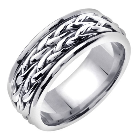 14K White Gold Hand Braided Cord Wedding Ring By JewelersCraft