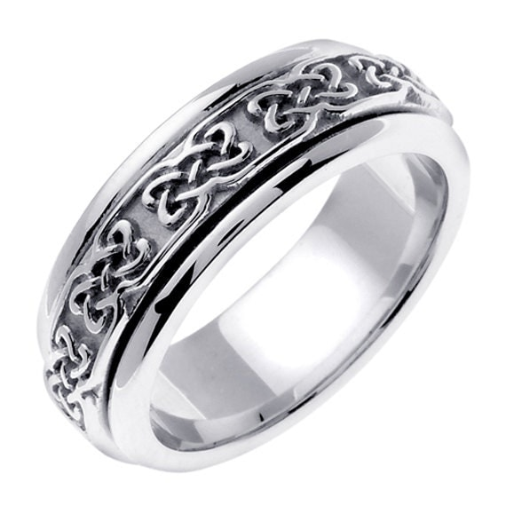 titanium 14k white gold celtic wedding ring by jewelerscraft