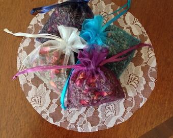 Organic lavender and rose petal sashets