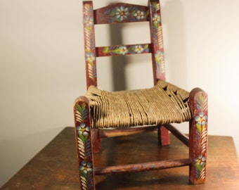 Vintage Red Dolls Chair  - Festive Mexican Handpainted Wood / Woven Chair - Floral Design Blue & White Flower - Rustic