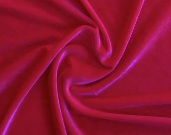Fuchsia Stretch Velvet Fabric 60'' Wide by the Yard for Sewing Apparel Costumes Craft