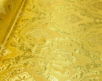Gold / Gold Metallic Floral Brocade Fabric