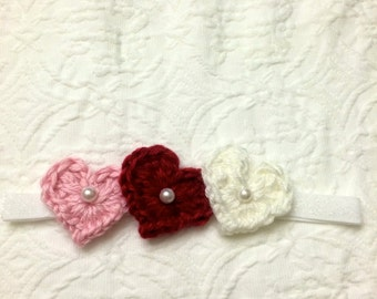 Pink,Red,and White Heart Trio Headband