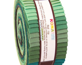 Robert Kaufman Jelly Roll Kona Cotton Solids Fabric Strips Roll Ups Spring Meadow RU-443-40