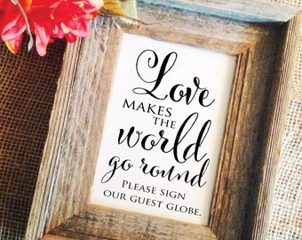 Love makes the world go round please sign our guest globe sign  (Frame NOT included)