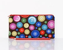 Button pencil case, Zippered pouch, Color pencil case, Lined pouch, School pencil case, Gadget pouch, Make Up bag, Cosmetic case, Buttons