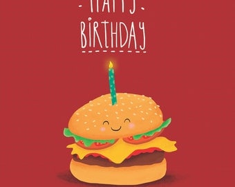 Burger Birthday Card. Fun food cards just for you!