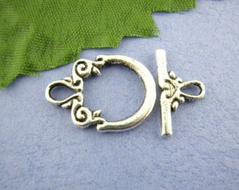 Toggle Clasp, Loop & Swirl Clasp, Antique Silver Finish Toggle Clasp, (CLP-T-AS-9), 5 sets