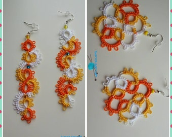 Tatted summer orange shades earrings snake or flower shape handmade tatting summer jewelry lace frivolite chiacchierino