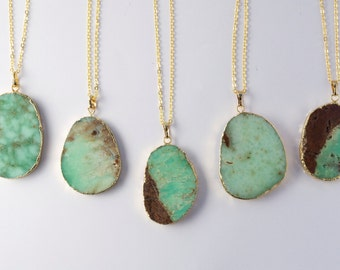 Apple Green Chrysoprase Dipped Gemstone Necklace