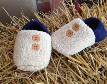 Fleece and Sherpa Booties/Slippers with Two Small Tan Buttons (Choose Fleece Color)