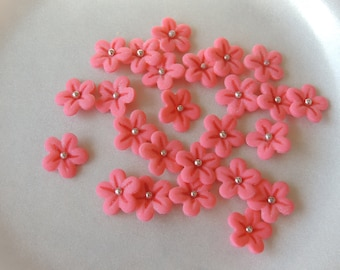 Fondant Cherry Blossom Flowers Cake or Cupcake Toppers for Wedding, Engagement, Baby Shower or Mothers Day