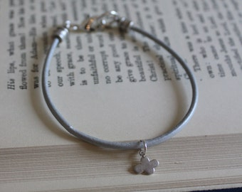 Silver Leather Bracelet 'Every Cloud has a Silver Lining'