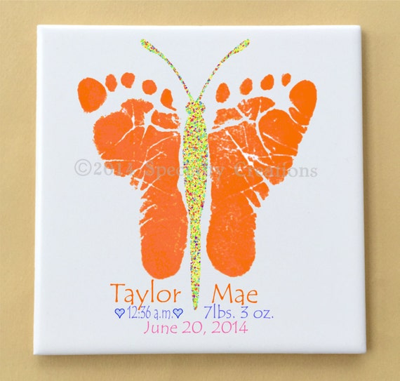 Items similar to Butterfly Footprints Tile Plaque - Using ...