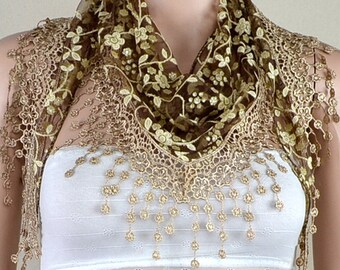 Brown lace triangle scarf, plum blossom tassel lace scarf, shawl, scarf