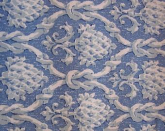 "Vintage P. Kaufmann Fabrics drapery fabric,3 yards6"" x 54"",med blue w/ knotted rope design,fleur de lis"