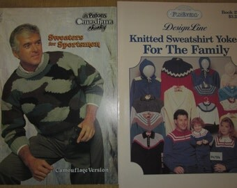 2 knitting booklets,Patons Sweaters for Sportsmen camofuflage version,Knitted Sweatshirt Yokes for the family