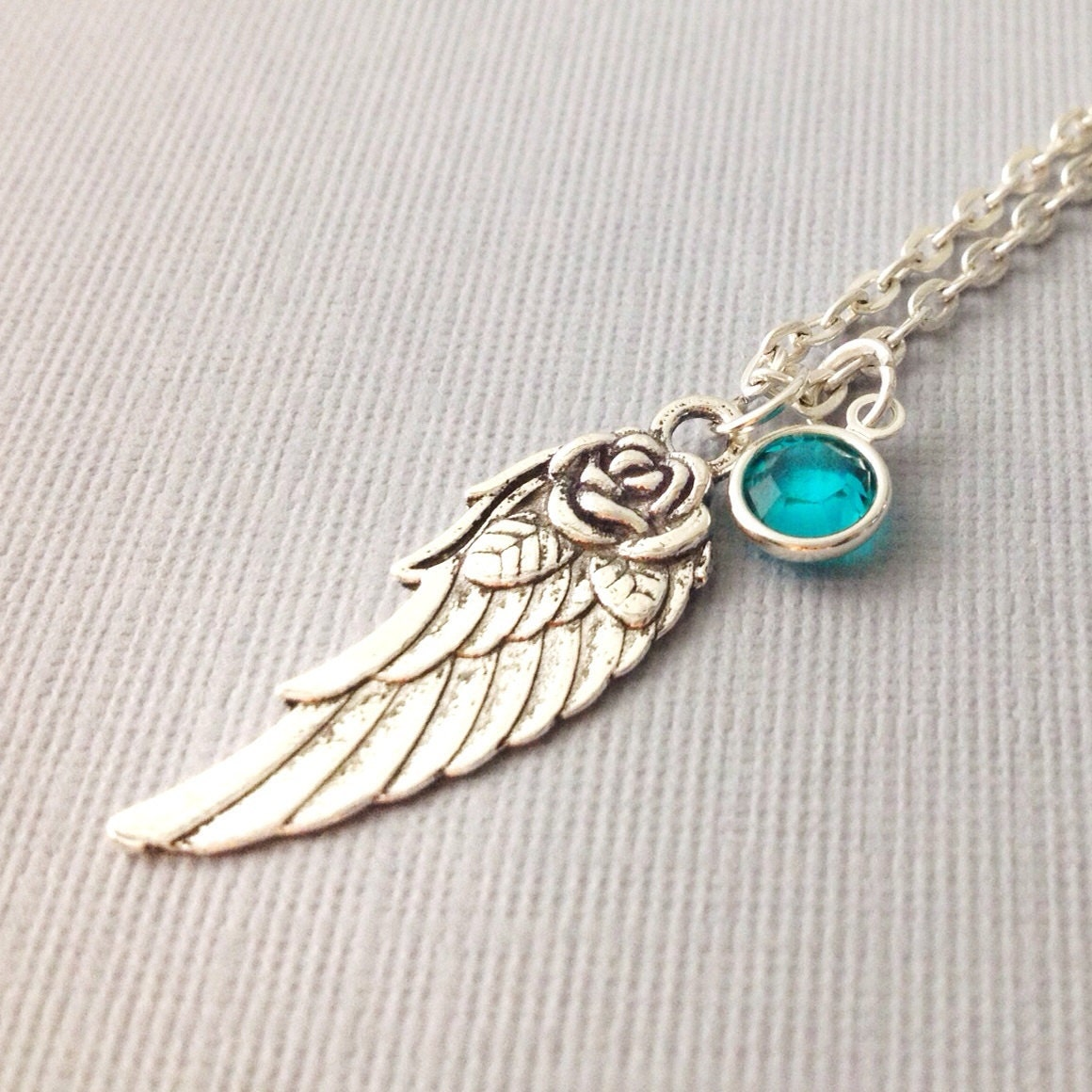 wing necklace with birthstone wing charm necklace
