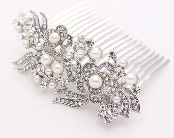 Bridal Hair Comb Crystal Pearl Wedding Hair Comb for Bride Gatsby Old Hollywood Wedding Hair Comb Wedding Jewelry