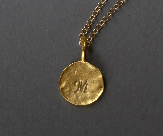 dainty gold initial necklace disc pendant gold necklace gold