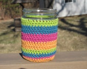 Handmade Purple Yellow Green Blue Striped Mason Pint Jar Sleeve/Cozy/Cover