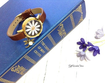 "Retro Leather Watch, Leather Wrap Watch, Leather Bracelet Watch, Wrist Watch, Brown Leather Flower Watch ""dragonfly"" charm"