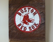 Boston Red Sox Sign, wood log slice, rustic, hand carved, hand painted, sports sign
