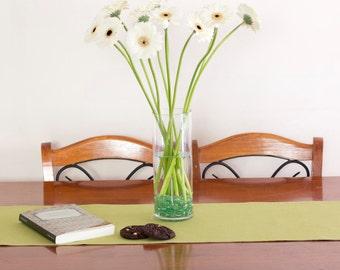 Reversible Table Runner – Green & Natural Hemp / Organic Cotton