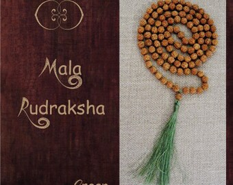 Mala natural Rudraksha seeds Handmade - green, purple or red orange - Mala rudraksha naturelles fait main vert, violet ou rouge orangé