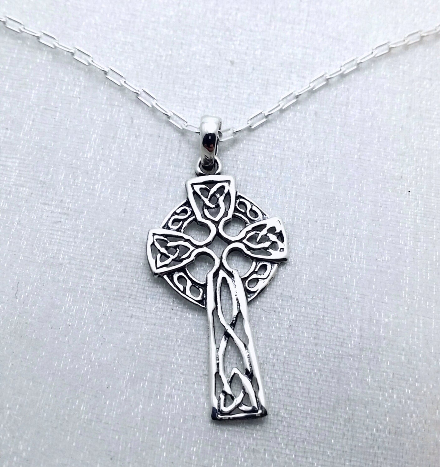 celtic cross necklace solid sterling silver cross necklace. Black Bedroom Furniture Sets. Home Design Ideas