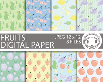 Fruits Digital Paper Pattern Pack JPEG 12 x 12